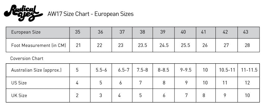 Radical Yes Sizing Chart