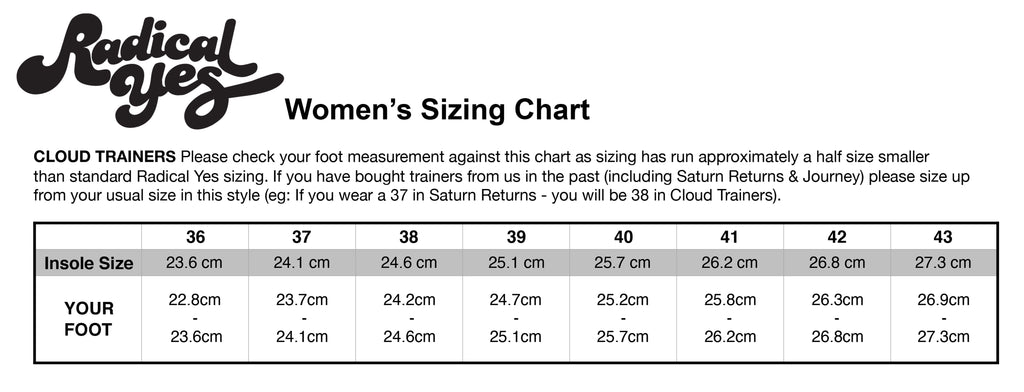 Cloud trainers Size Chart
