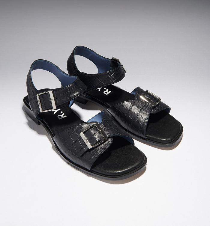 Radical Yes - 'Sun Ra' Sandal - Navy Croc Embossed Leather