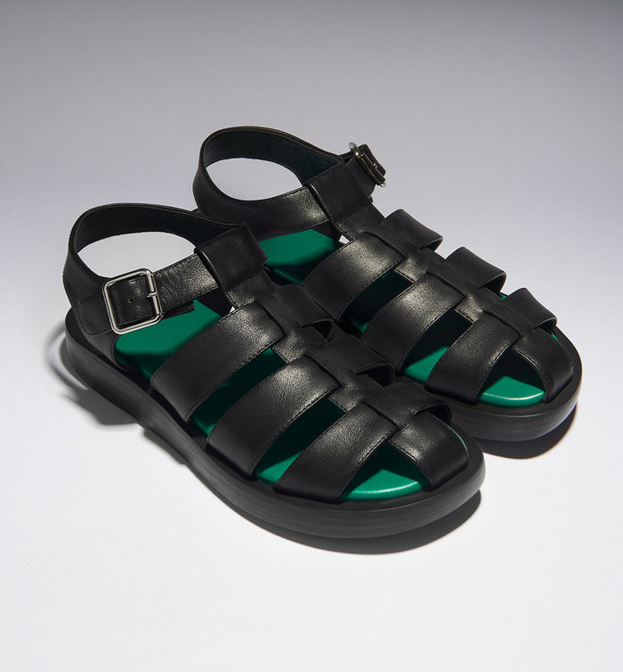 Radical Yes 'Arkestra' Fisherman Sandal - Black Leather