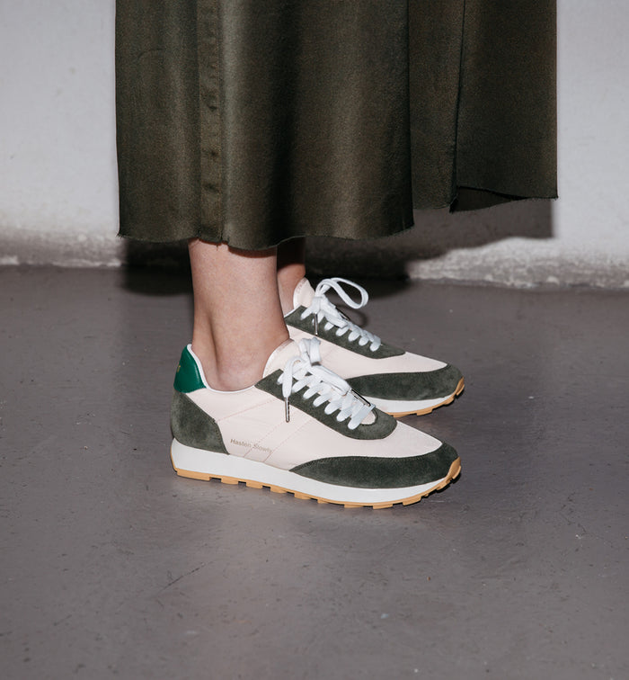 Radical Yes 'Cloud' Retro Trainers - Olive Green