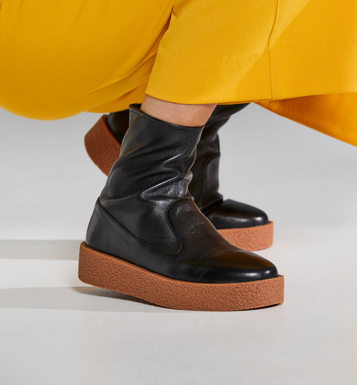Radical Yes 'Lunar' Bootie - Black Leather / Gum Outsole