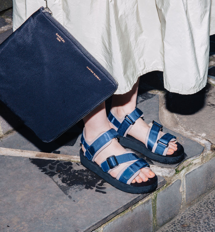 Radical Yes 'Neptune' Athletic Sandal - Elephant Leather / Navy Nylon Straps