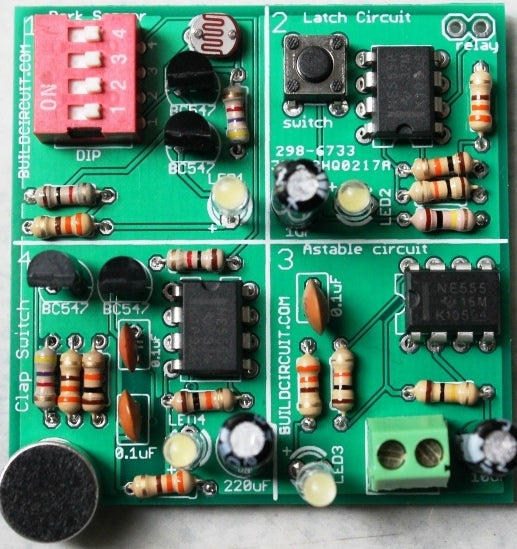 4 in 1 DIY kit- dark sensor, clap switch, latch switch and astable multivibrator
