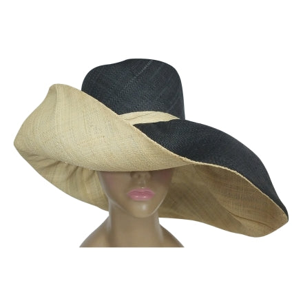 Black and Natural Raffia Hats