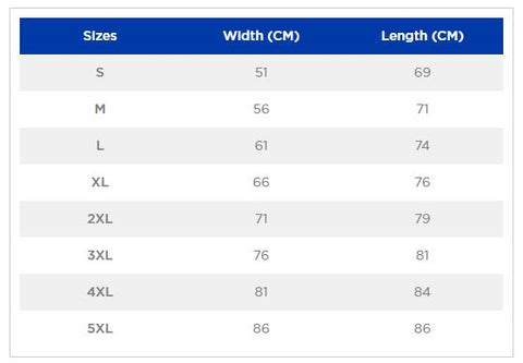 Gildan 18500 Hooded Sweatshirt Sizing Chart