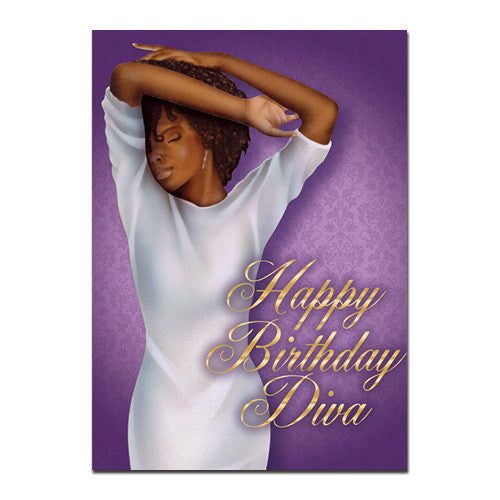 diva african american birthday card x inches  high gloss, Birthday card