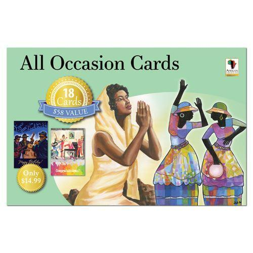 African American All Occasion Greeting Card Box Set (Green Set)