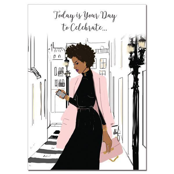 Today is Your Day to Celebrate: African American Birthday Card by Nicholle Kobi