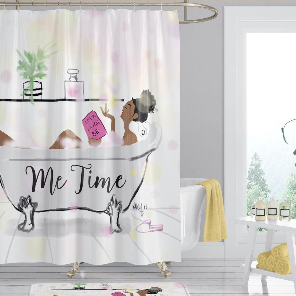 Some Me Time: African American Shower Curtain by Nicholle Kobi (71x71 inches)
