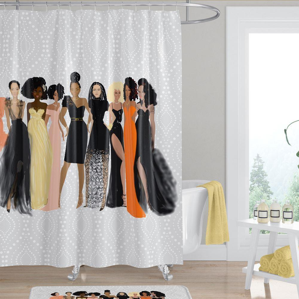 Sister Friends: African American Shower Curtain by Nicholle Kobi