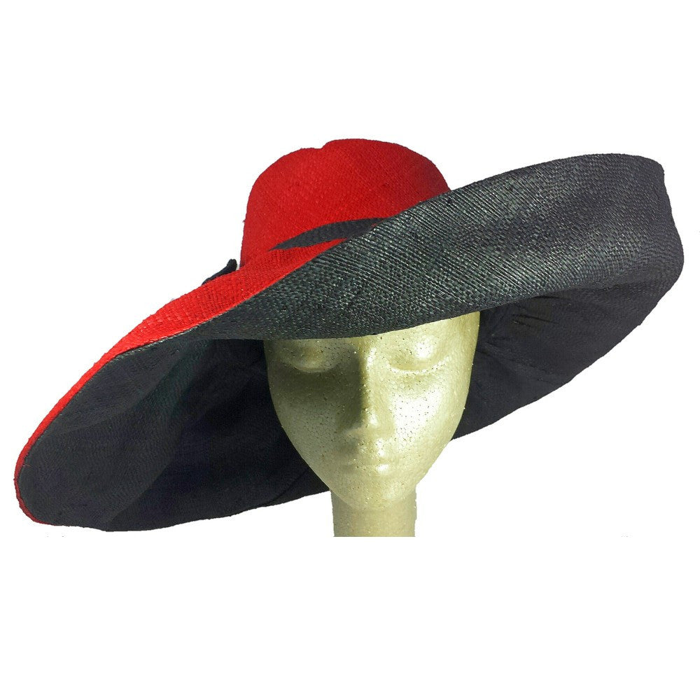 Miora: Red and Black Hand Woven Madagascar Raffia Hat (7 inch brim)