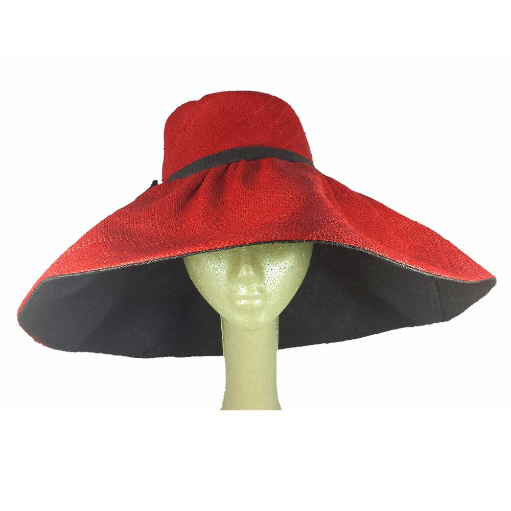 miora  hand woven red and black madagascar raffia hat