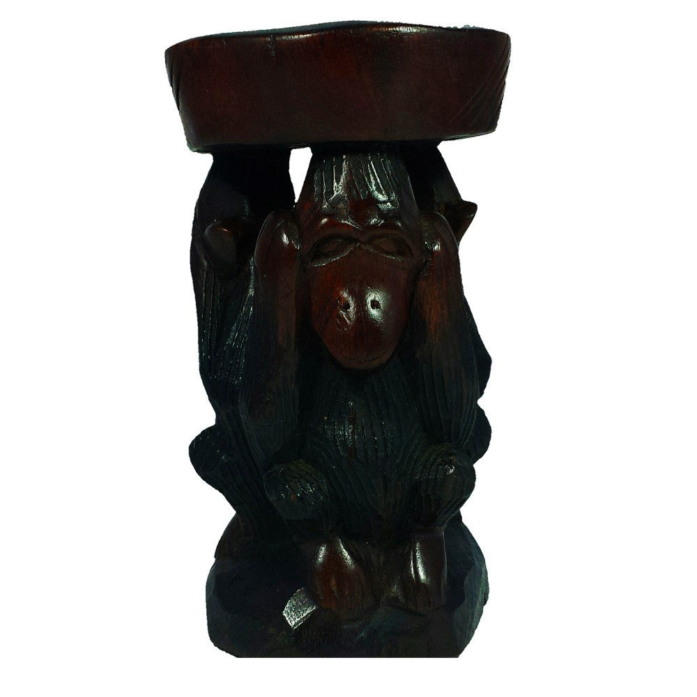 Hear No Evil, See No Evil, Speak No Evil Ash Tray: Hand Made Sierra Leonean Mahagony Wood Sculpture