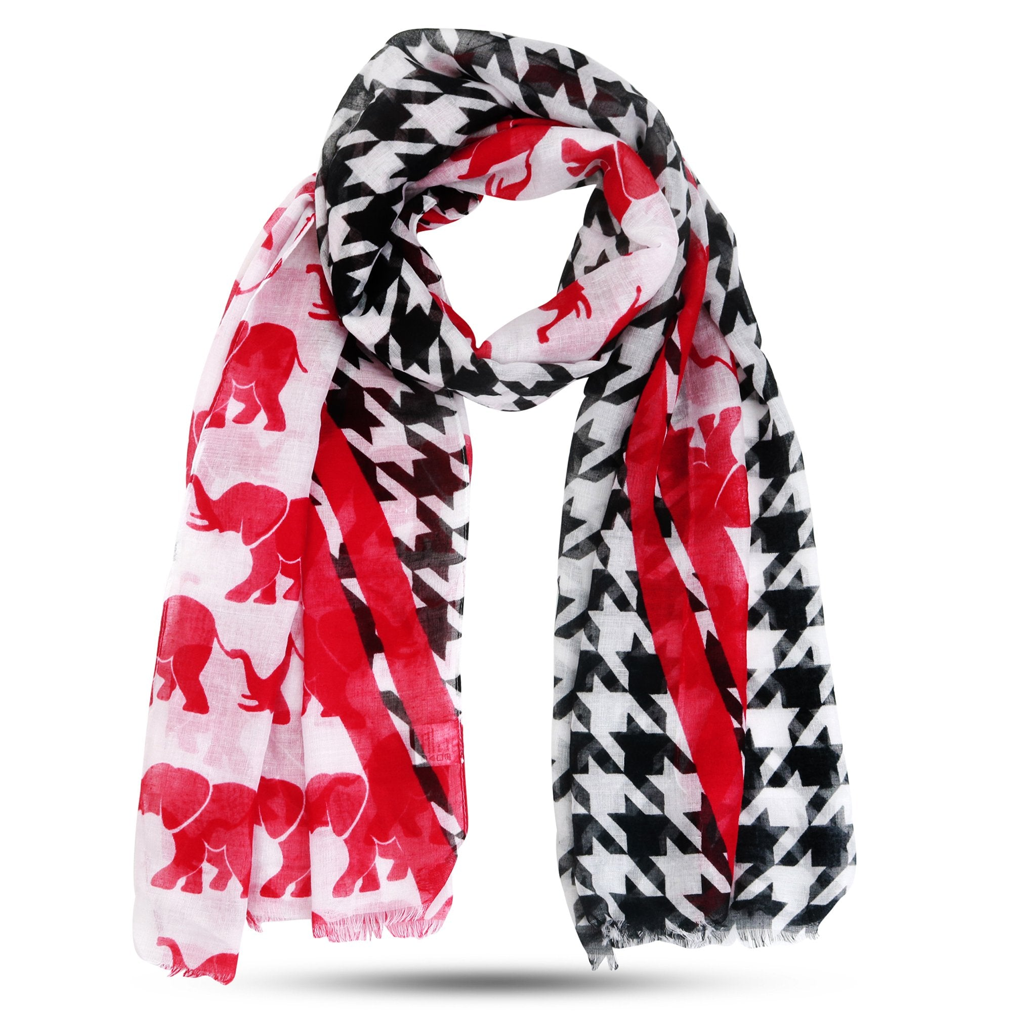Lightweight Houndstooth and Crimson Elephant Long Scarf