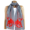 Lightweight Houndstooth and Crimson Elephant Long Scarf by The Elephant Boutique
