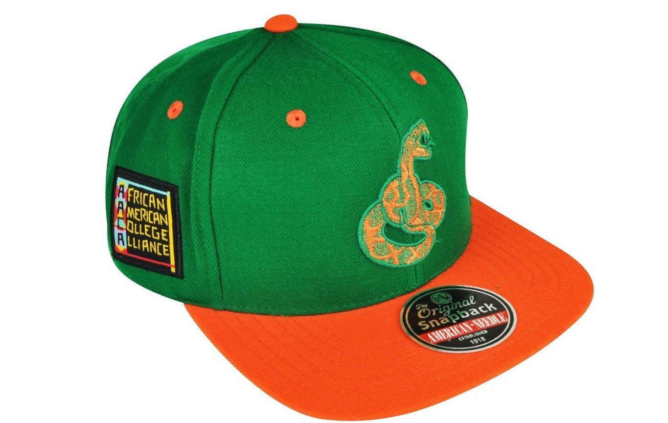 Florida A&M University Rattlers Snapback Blockhead Baseball Cap by American Needle (Front)