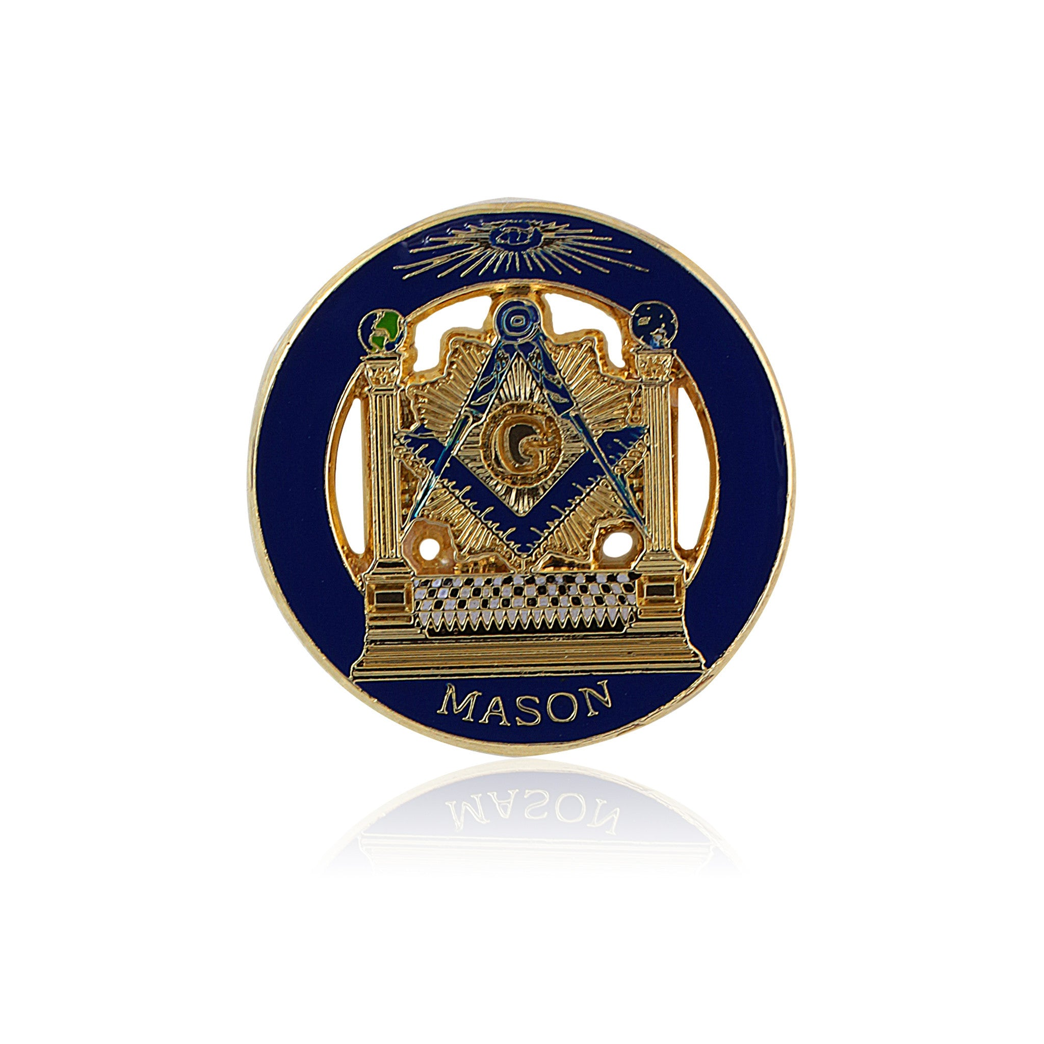 Boaz and Jachin Masonic Pillars and Mosaic Pavement Lapel Pin
