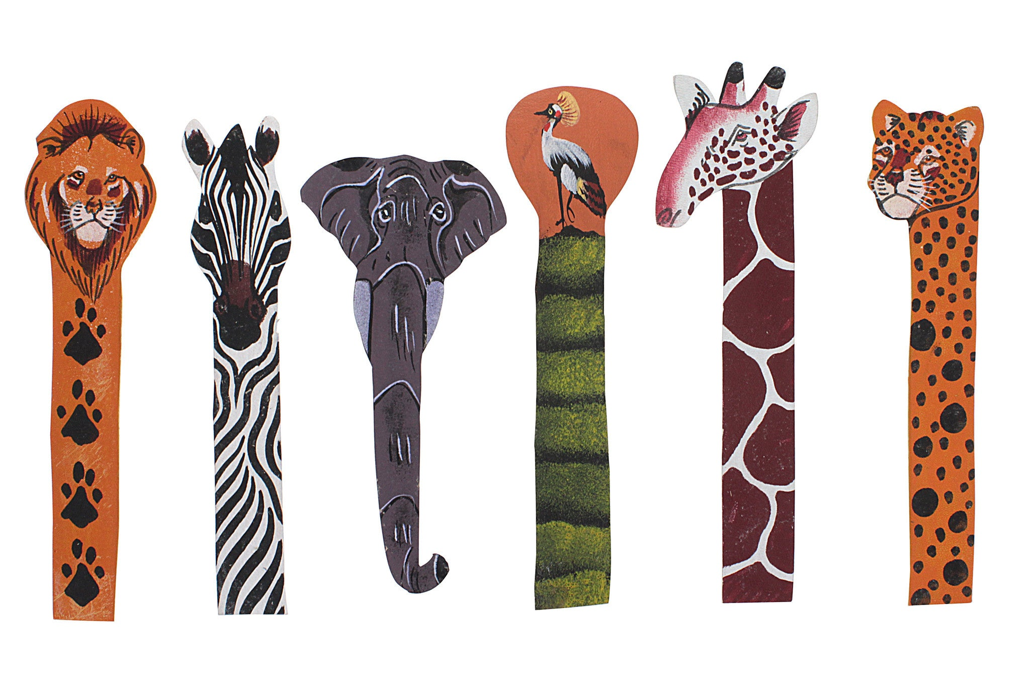 Ugandan Leather Animal Bookmark Set (6 Piece)