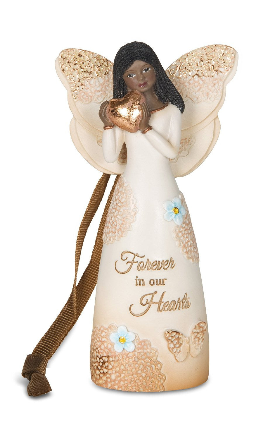 African American Memorial Angel Ornament with Heart: Light Your Way Memorial Collection by Pavilion Gifts