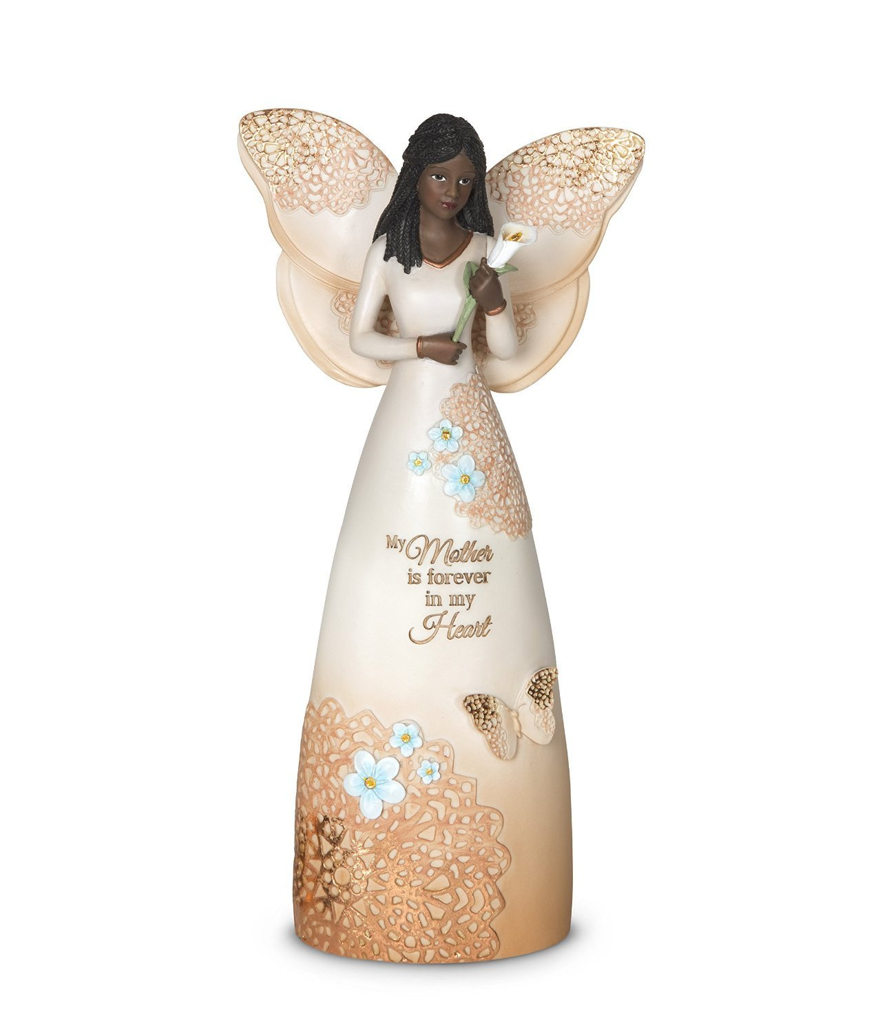 African American Mother Angel Figurine with Lilly: Light Your Way Memorial Collection by Pavilion Gifts