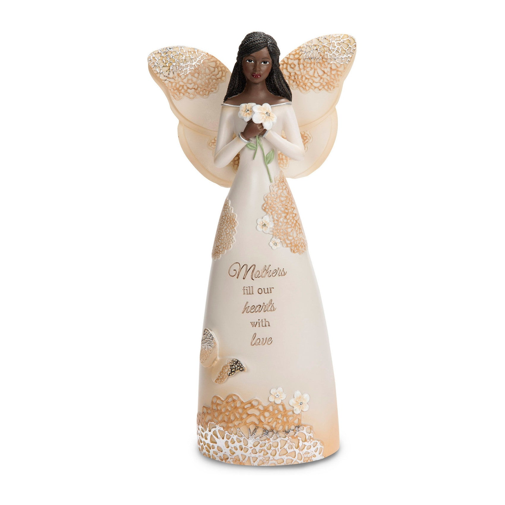 African American Mother Angel Figurine with Flowers (Light Your Way Collection)