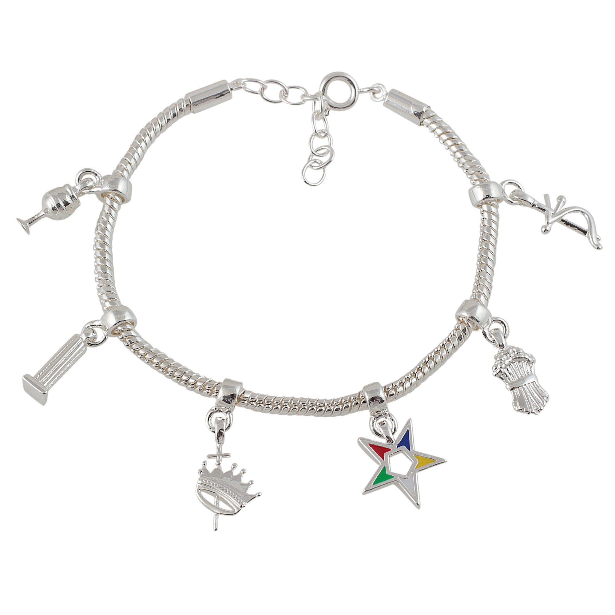 Order of the Eastern Star Silver Toned Adjustable Heroine Emblem Charm Bracelet