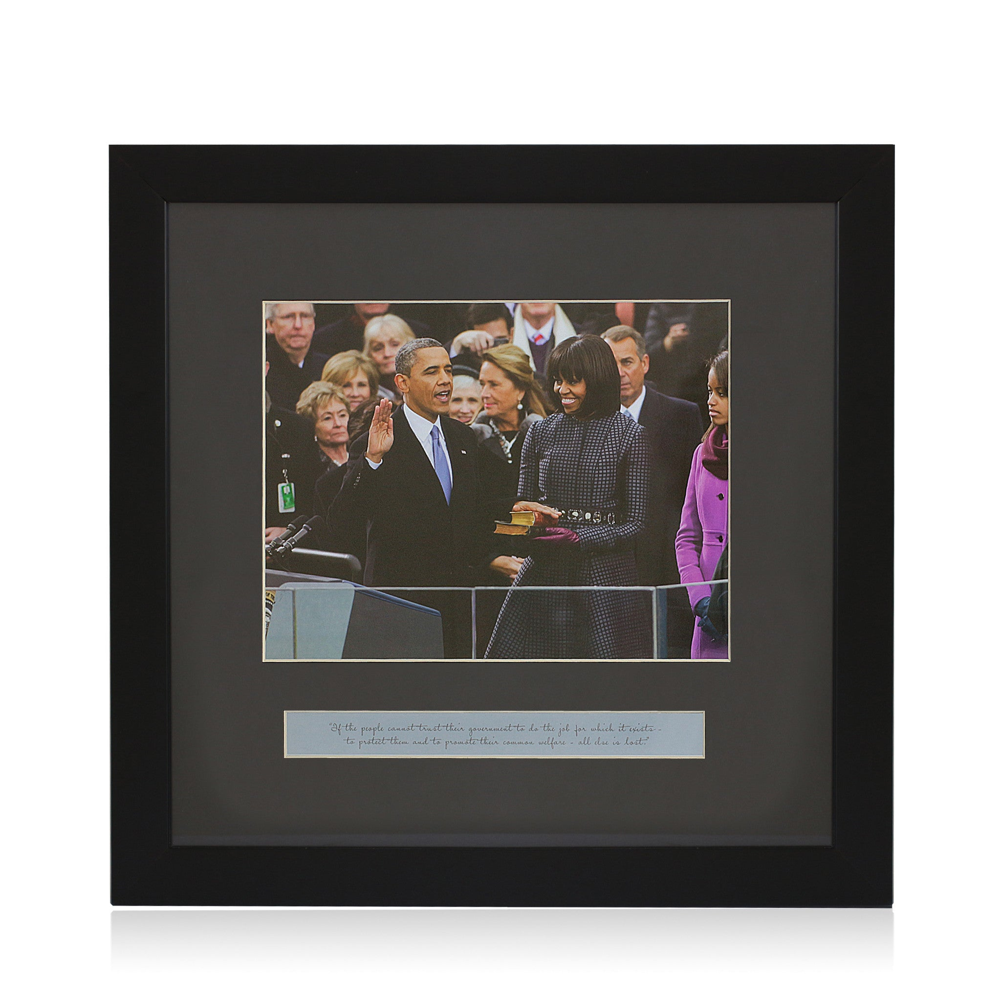 Oath of Office: President Barack Obama and Michelle Obama (Framed Art Print)