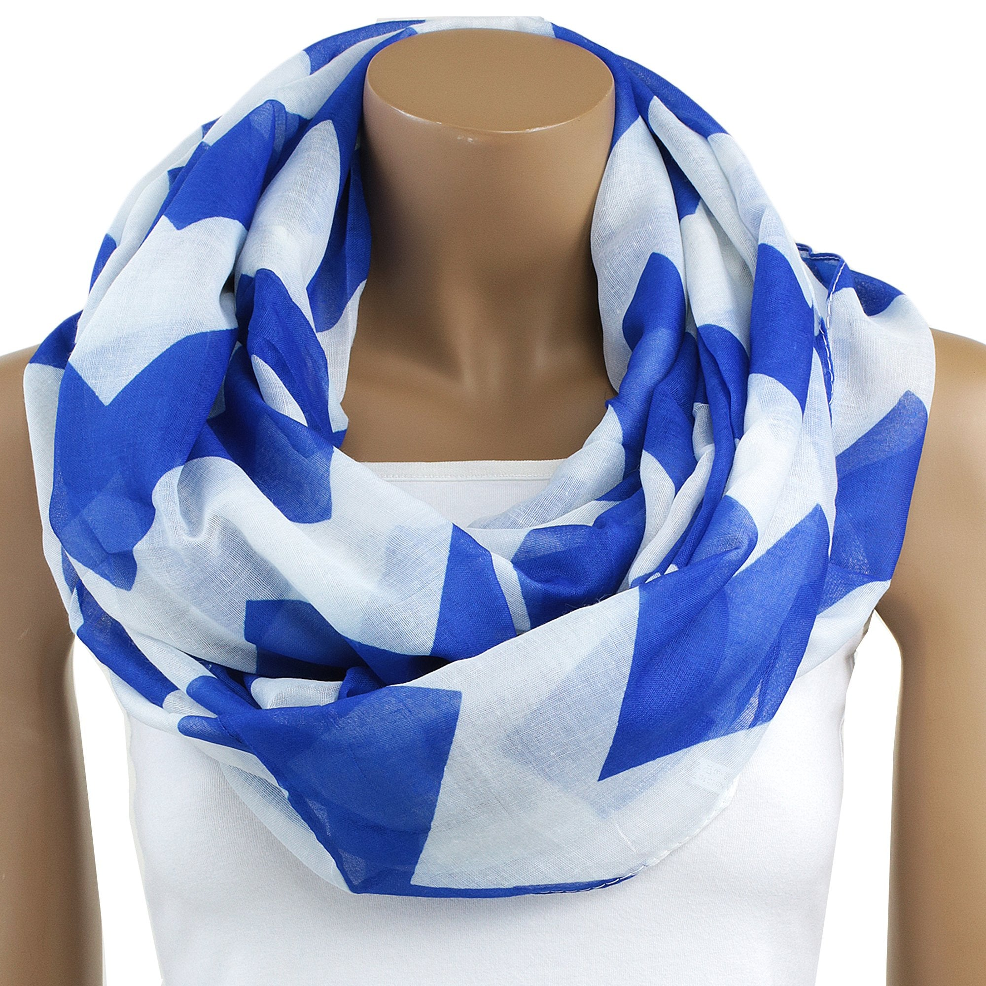 Zeta Phi Beta Inspired Royal Blue and White Chevron Infinity Scarf