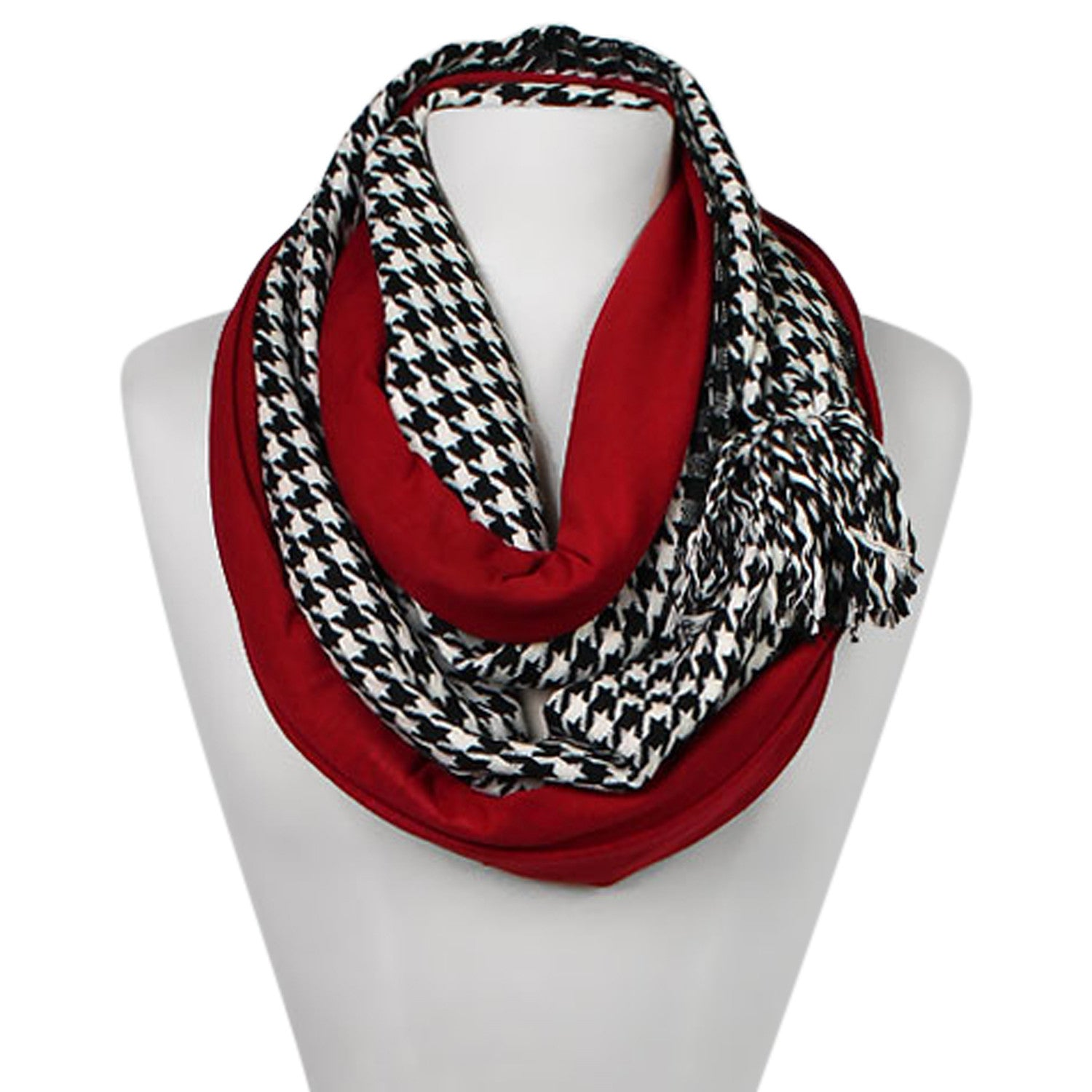 Houndstooth and Crimson Infinity Jersey Scarf with Pom Pom
