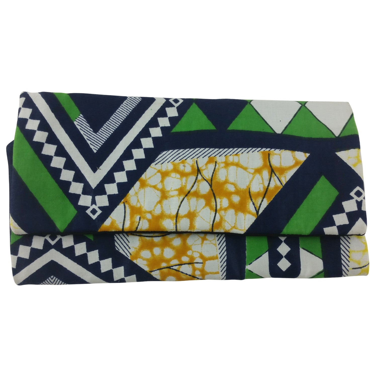 East African Kitenge Fabric Women's Wallet (Green,Blue,Yellow and White)