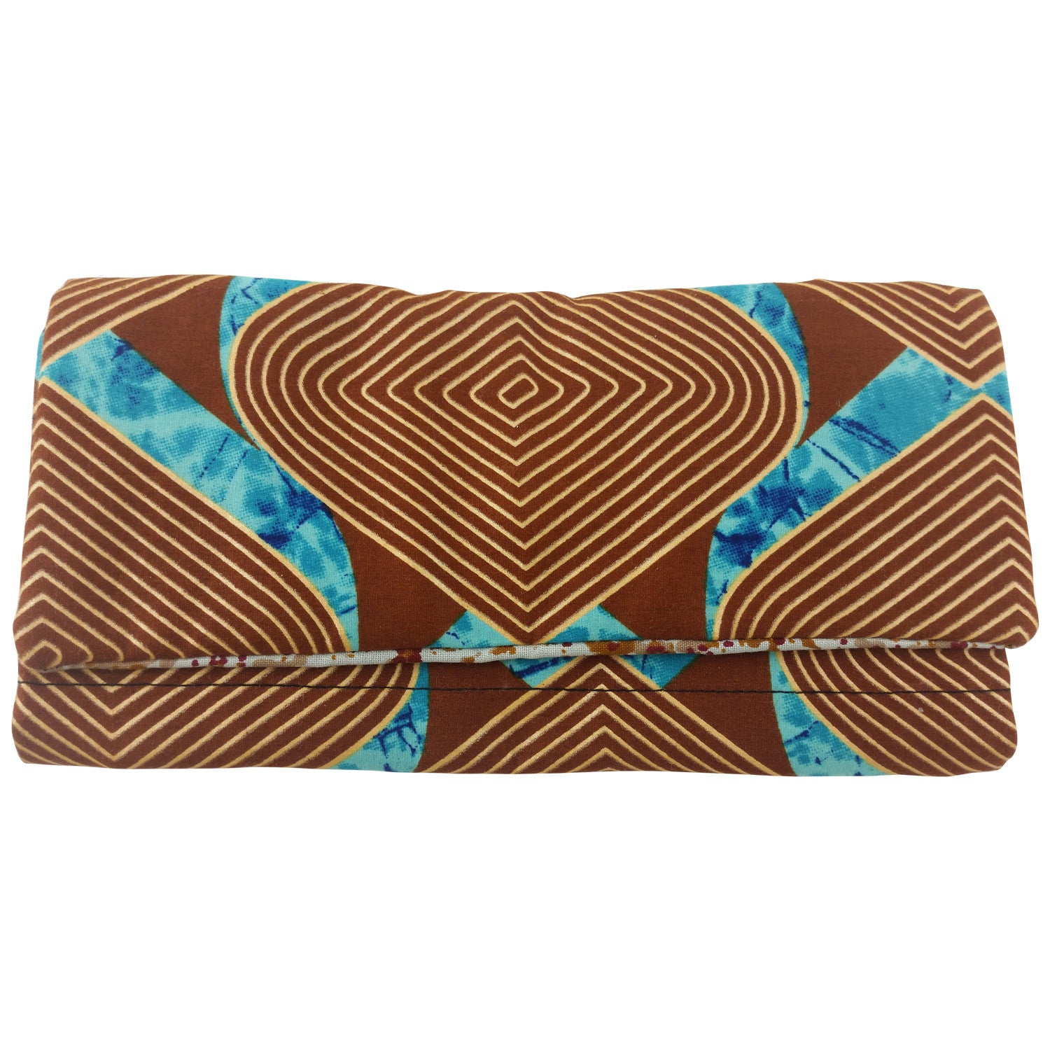 East African Kitenge Fabric Women's Wallet (Brown, Beige and Blue)