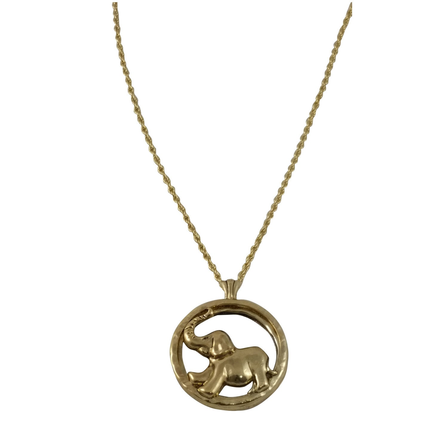 Elephant Pendant with Magnifier Glass (Gold Toned)
