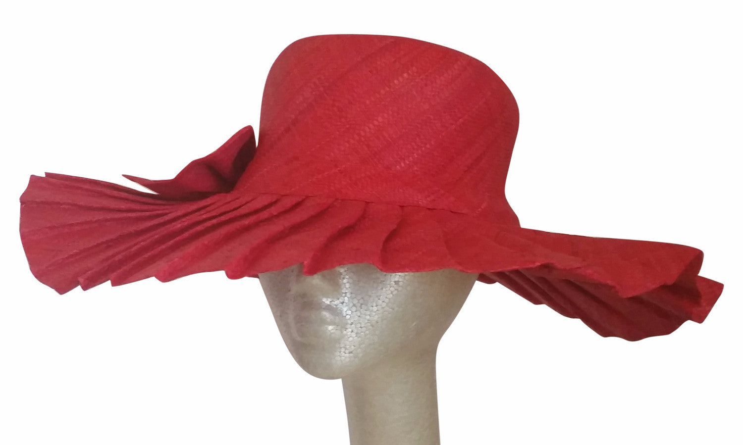 Neema: Hand Woven Pleated Red Madagascar Raffia Sun Hat