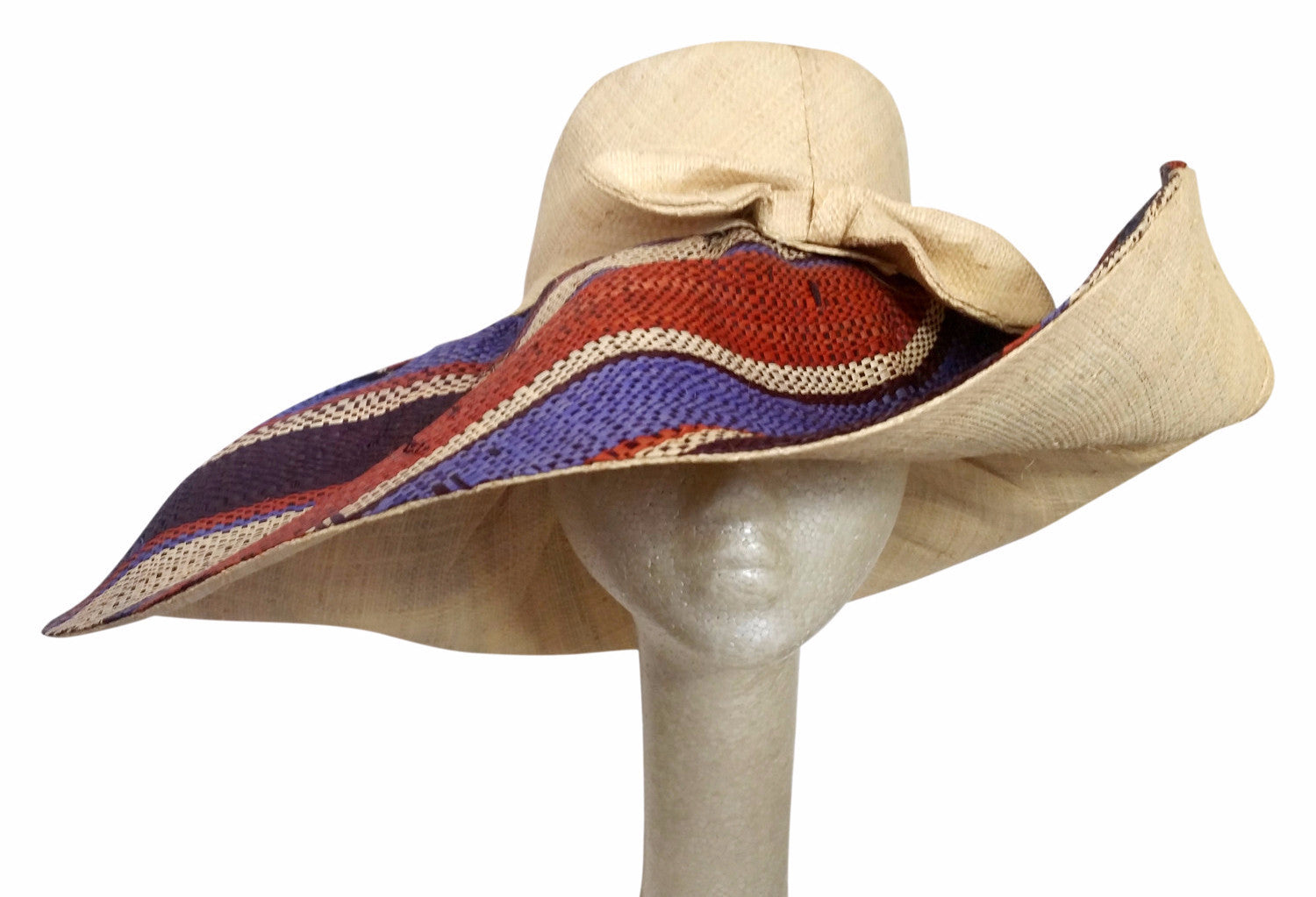 Nombeko: Hand Woven Multicolored Madagascar Big Brim Raffia Sun Hat