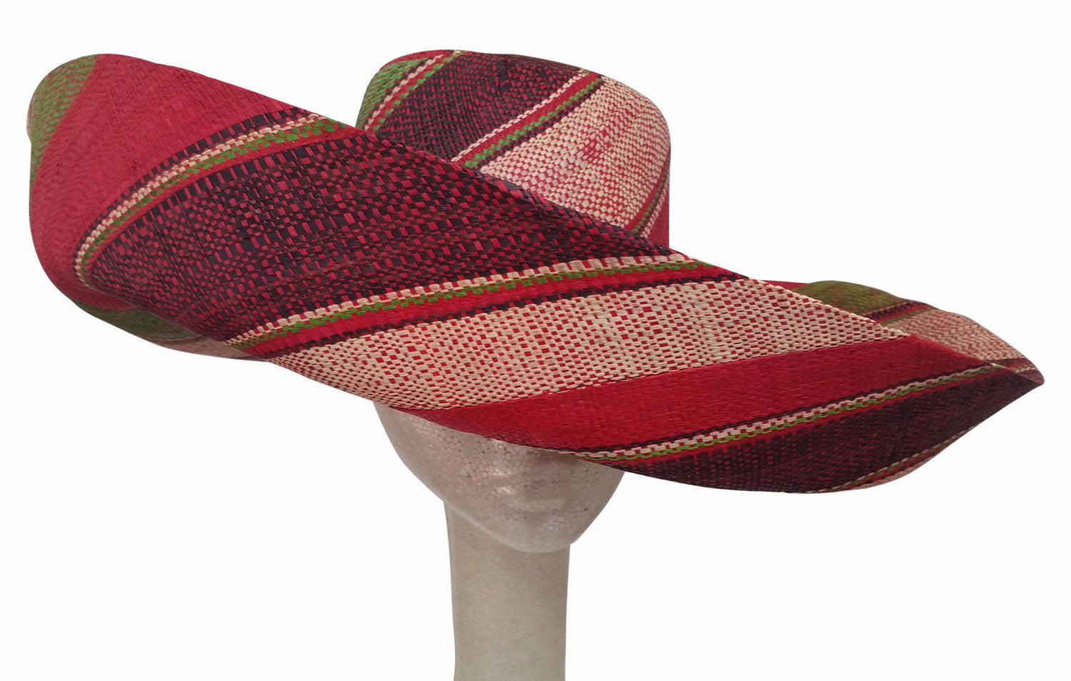 Nontle: Hand Woven Multicolored Madagascar Big Brim Raffia Sun Hat