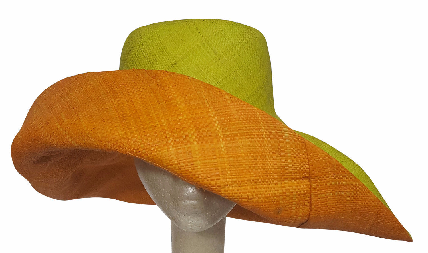Abam: Hand Made Lime and Orange Madagascar Big Brim Raffia Sun Hat
