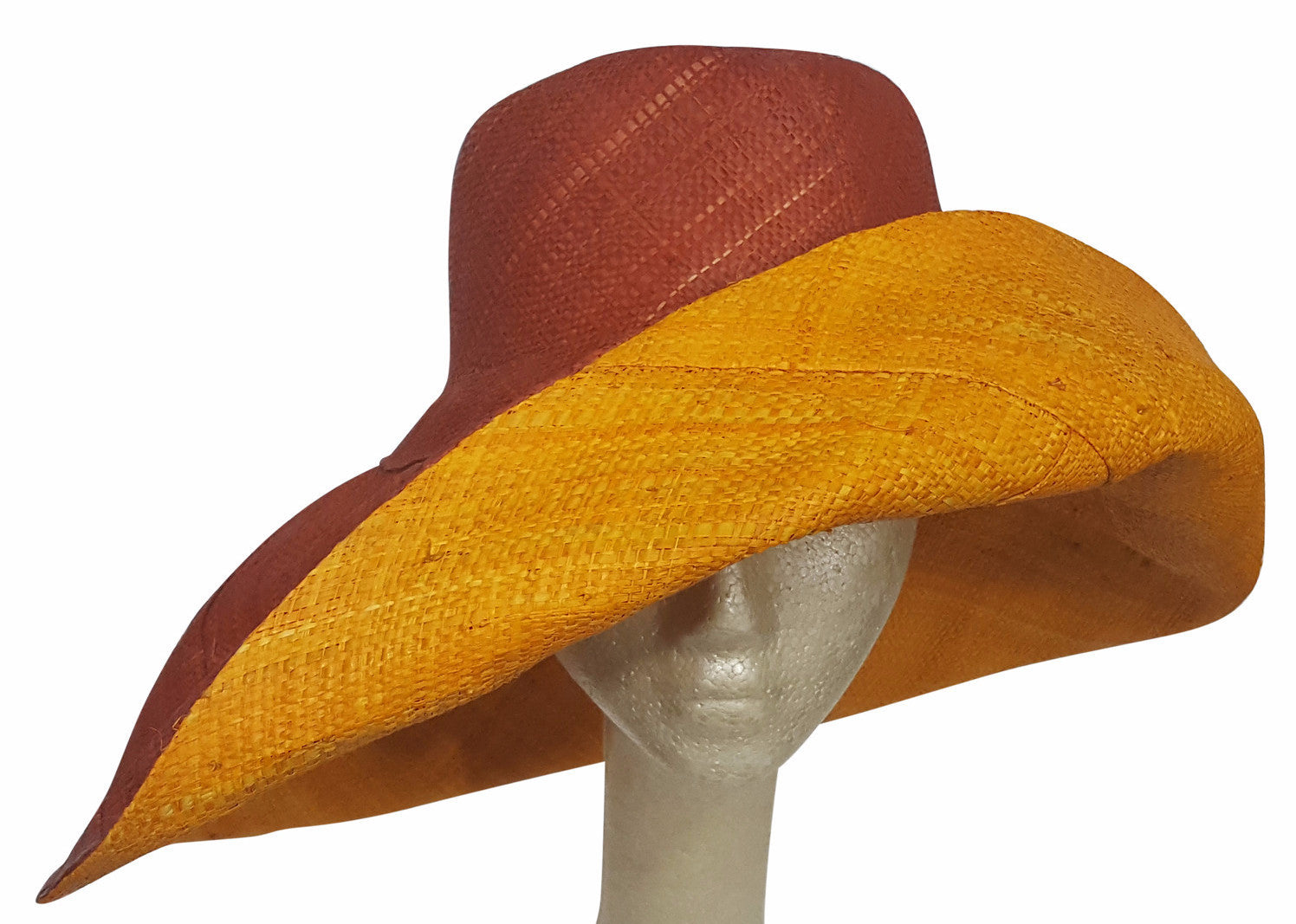 Abayomi: Hand Made Burnt Orange and Orange Madagascar Big Brim Raffia Sun Hat
