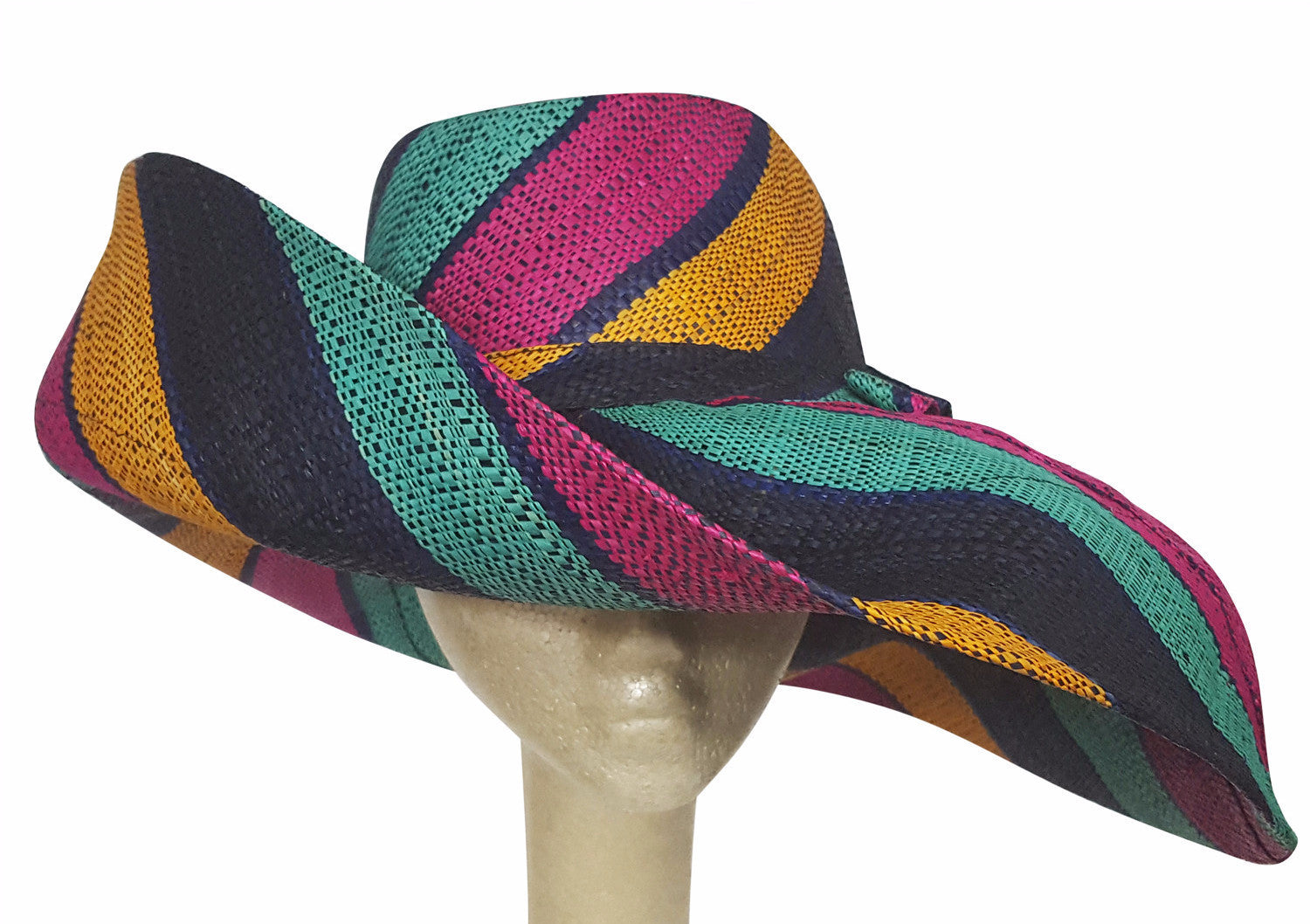 Aba: Hand Made Big Brim Multicolored Madagascar Big Brim Shapeable Sun Hat