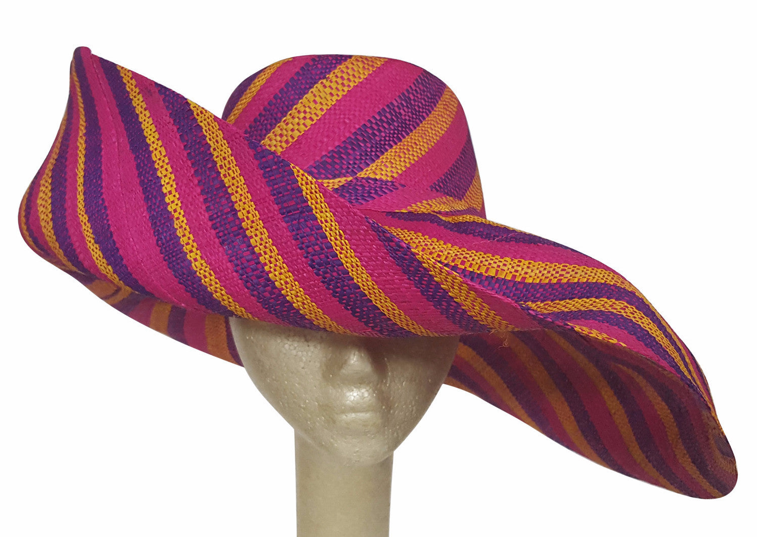 Ababuo: Authentic African Hand Made Multicolored Madagascar Shapeable Big Brim Raffia Sun Hat