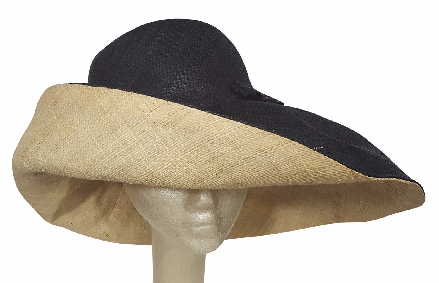 Abagbe: Authentic African Hand Made Black and Natural Madagascar Shapeable Big Brim Raffia Sun Hat