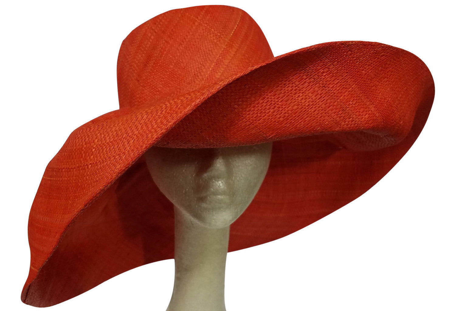 Abena: Red-Orange Madagascar Big Brim Raffia Su Boutiqu