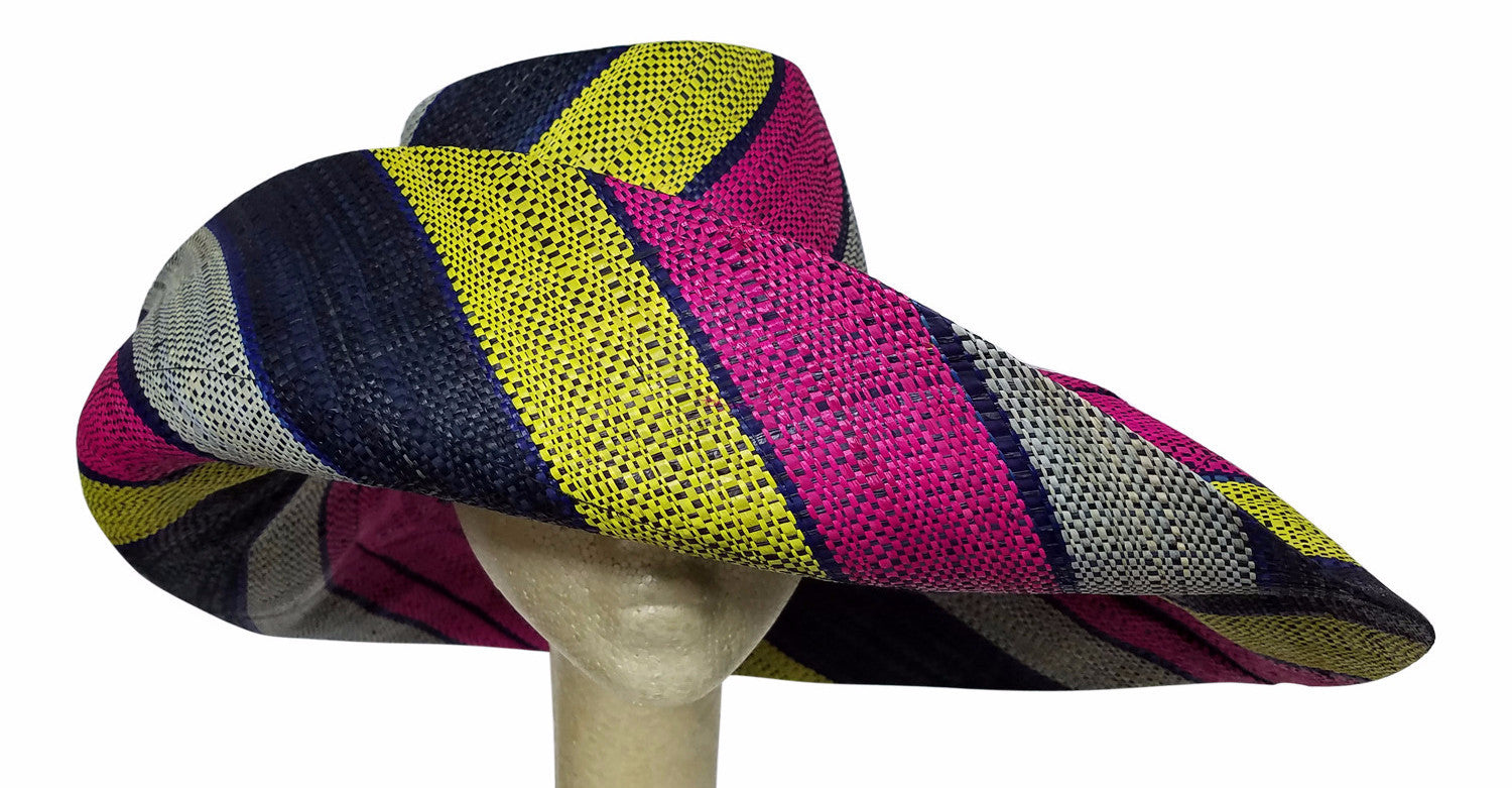 Abikanile: Multicolored Madagascar Big Brim Raffia Sun Hat