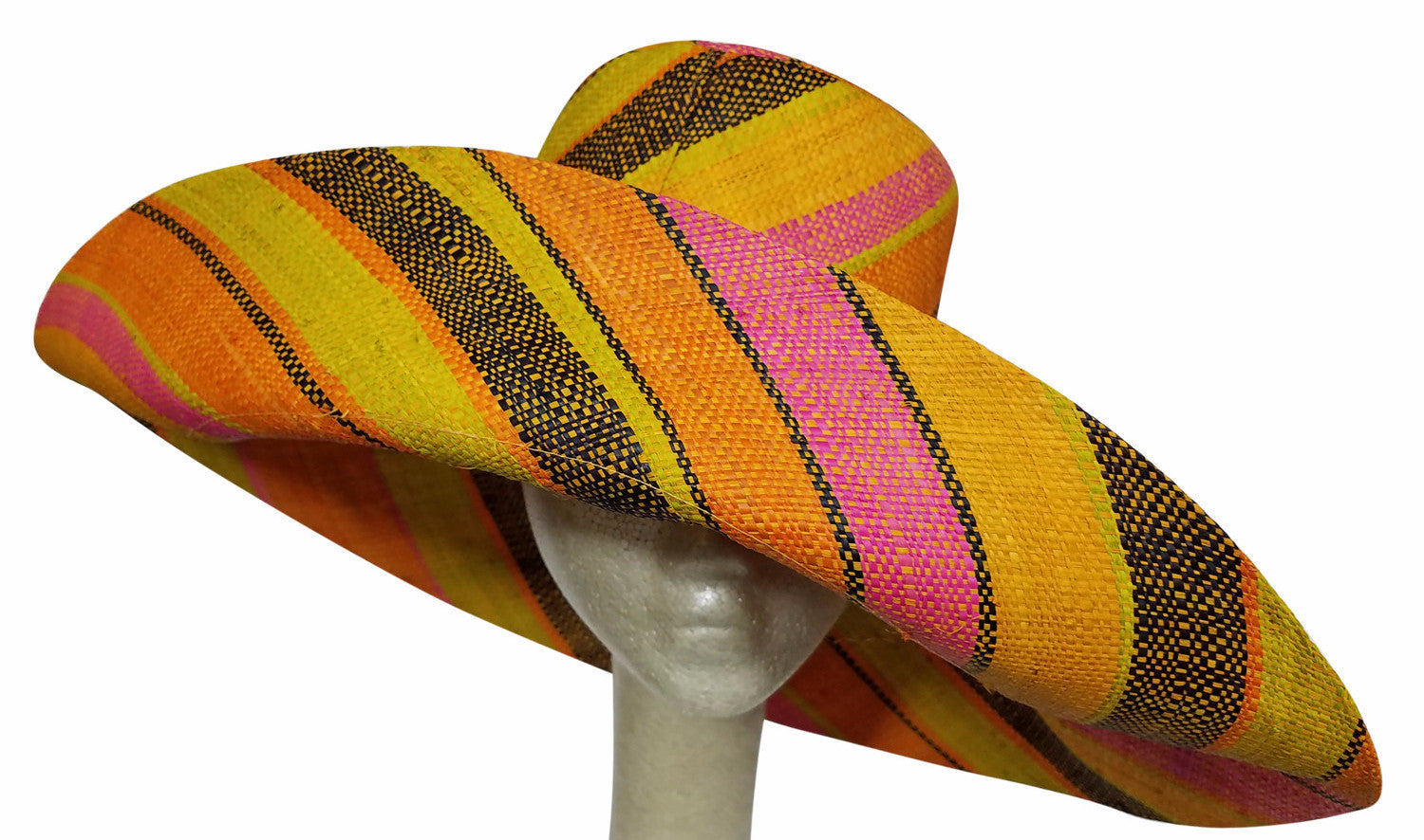 Abimbola: Multicolored Madagascar Big Brim Raffia Sun Hat
