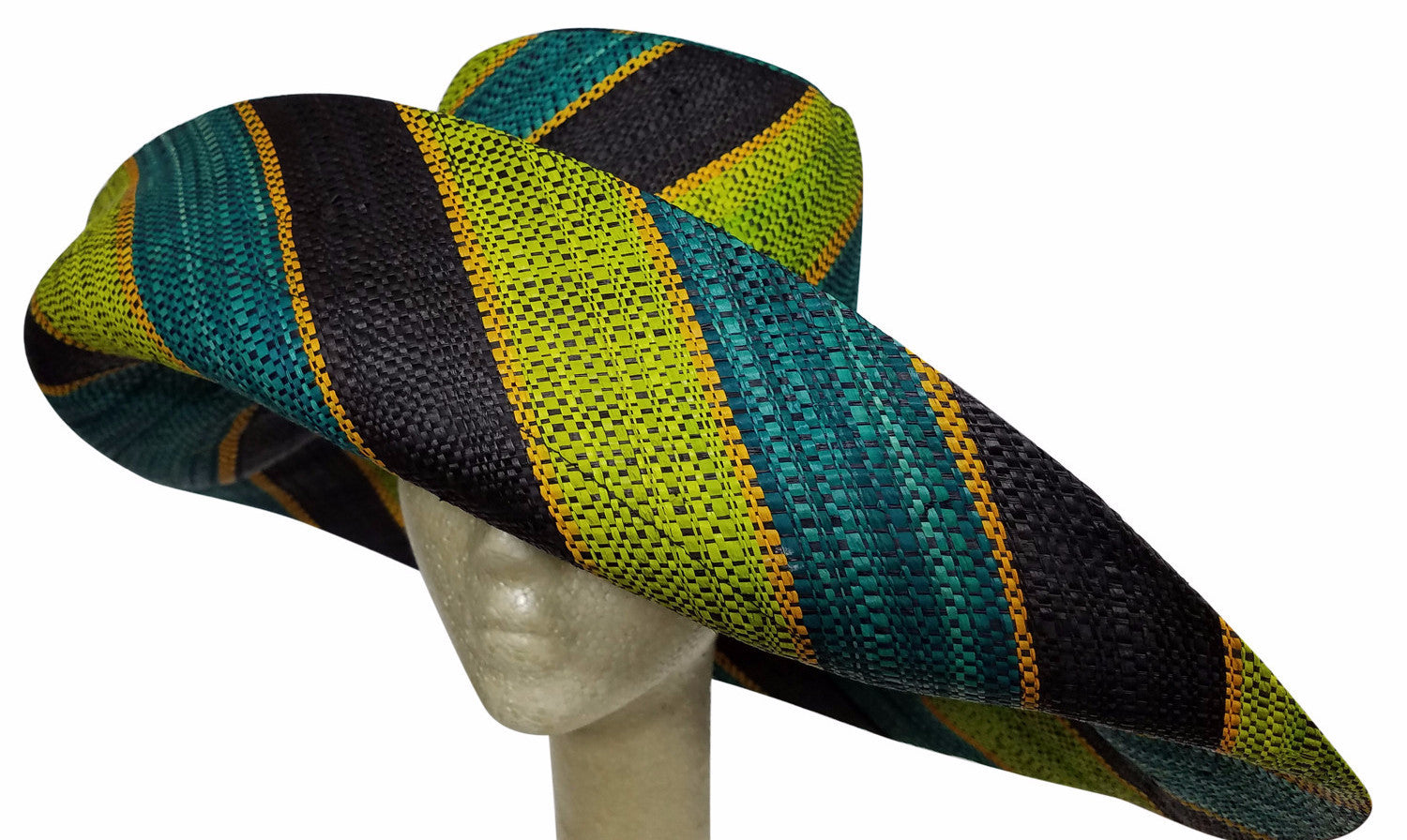 Abiona: Multicolored Madagascar Raffia Big Brim Sun Hat