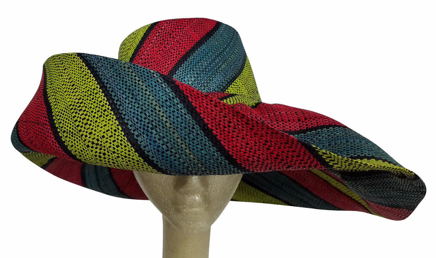 Abidemi: Multicolored Madagascar Big Brim Raffia Sun Hat