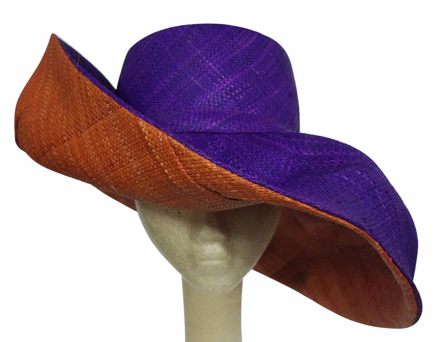 Adedagbo: Authentic African Hand Made Purple and Burnt Orange Madagascar Big Brim Raffia Sun Hat