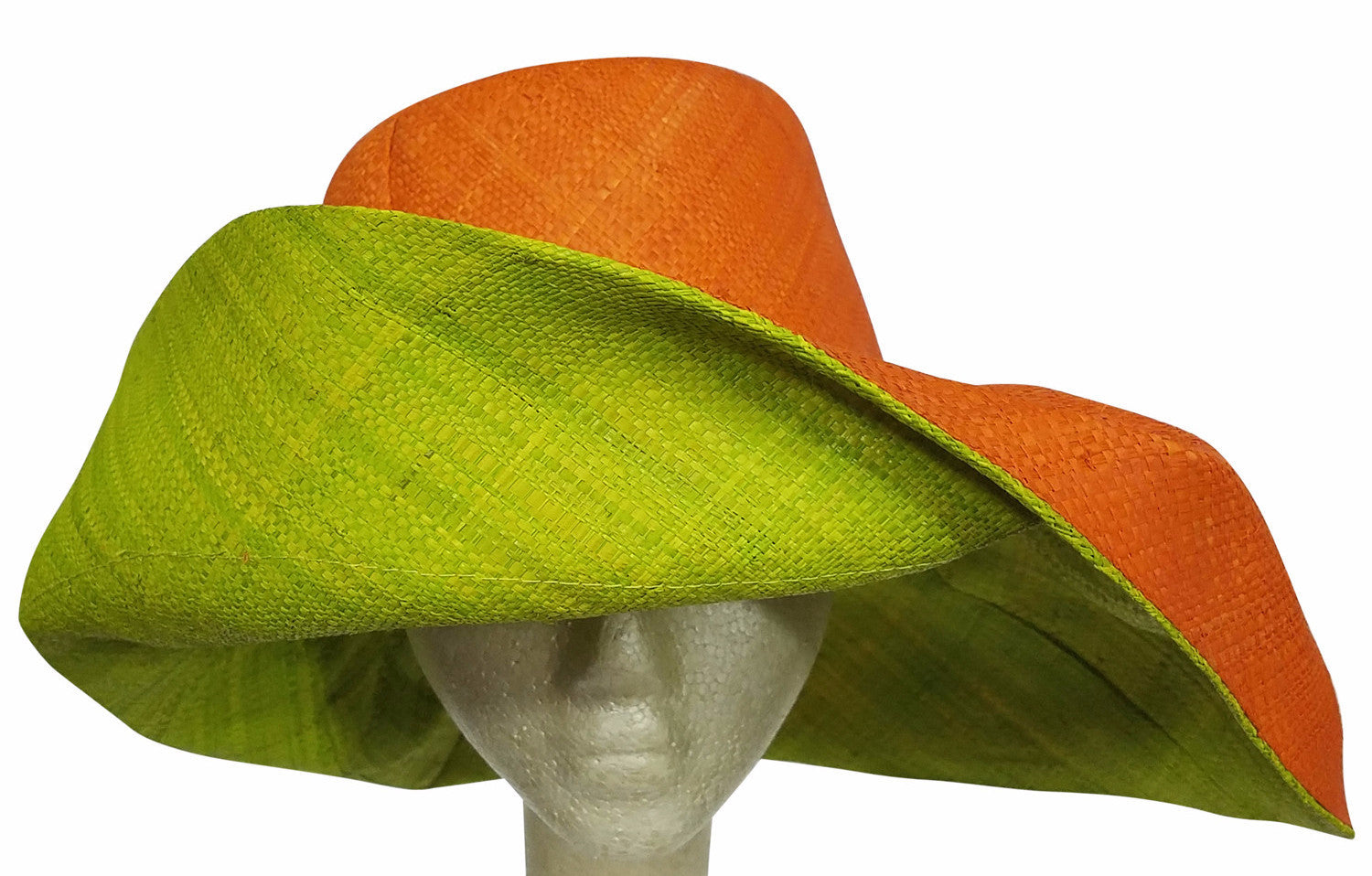 Adeleka: Authentic African Hand Made Orange and Lime Madagascar Big Brim Raffia Sun Hat