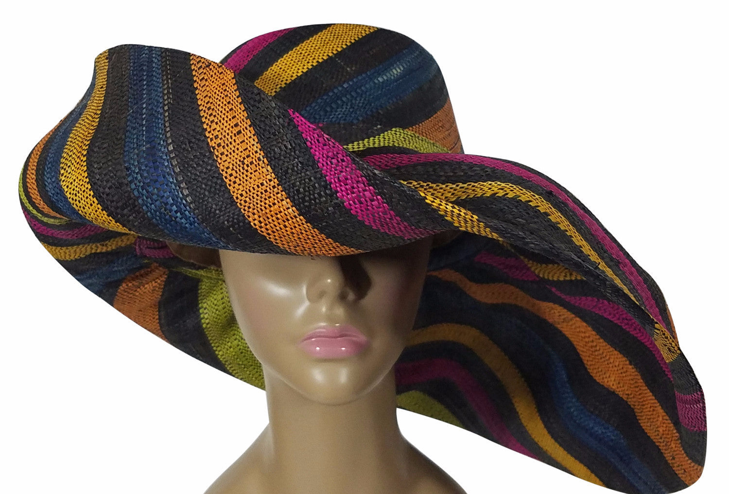 Zanna: Authentic African Hand Made Multi-Colored Madagascar Big Brim Raffia Sun Hat