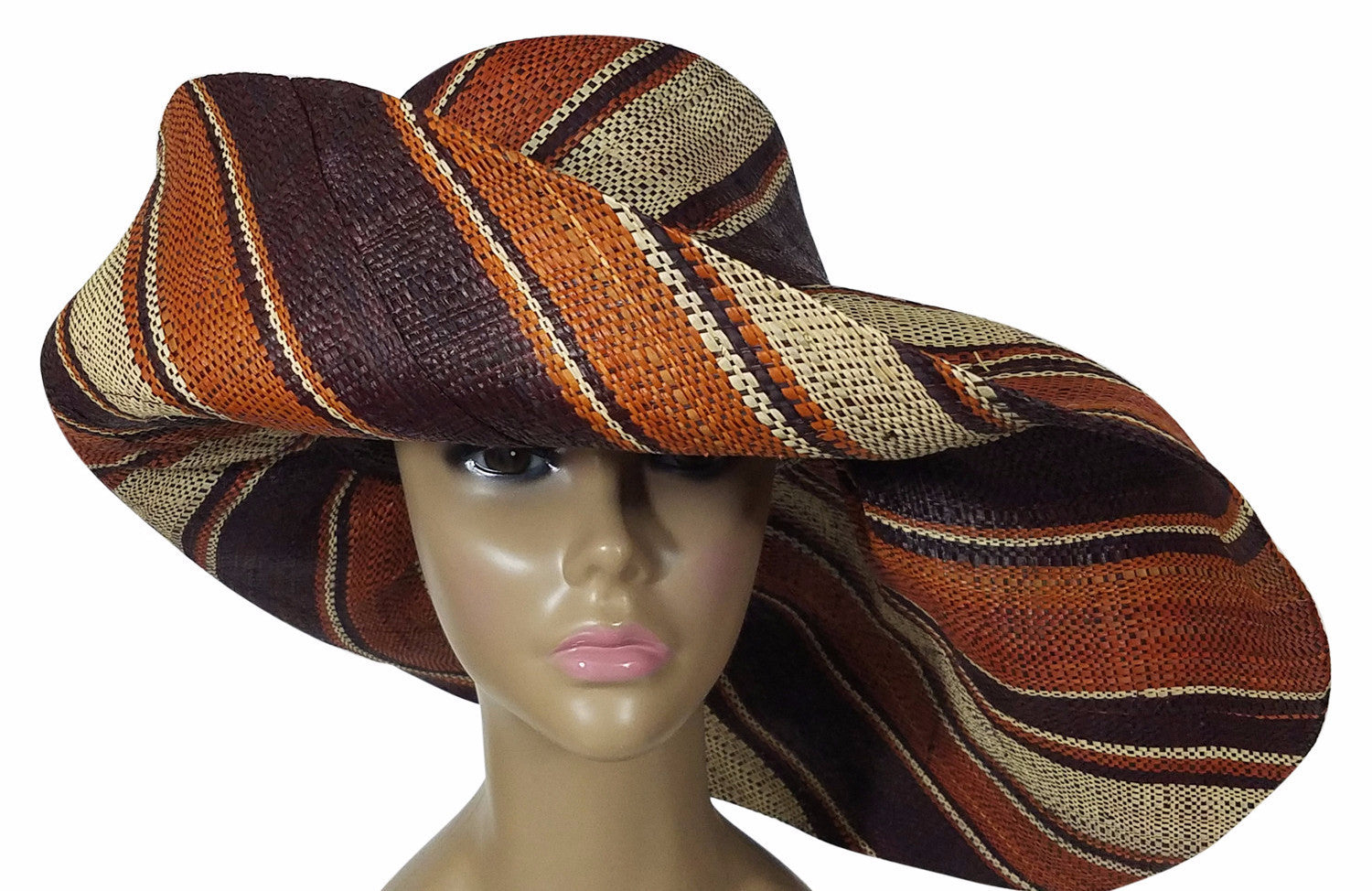 Zandra: Authentic African Hand Made Multi-Colored Madagascar Big Brim Raffia Sun Hat
